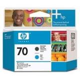 Оригинальный картридж HP C9404A матово чёрная и голубая печатающая головка №70
